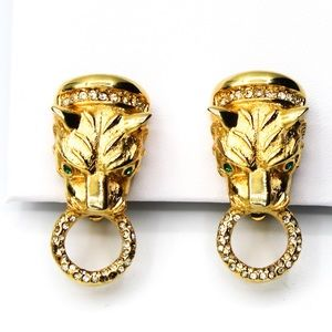 Piscitelli Vintage Jewelry Lion Head Clip Earrings